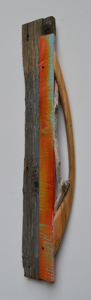 Melinda Rosenberg Boats aniline dyes and paint on curly maple, driftwood and barn siding