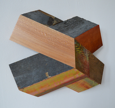 "Melinda Rosenberg ""X's"" aniline dyes and paint on cedar, sycamore, and found wood"