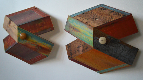 "Melinda Rosenberg ""X's"" aniline dyes and paint on found wood and knobs"
