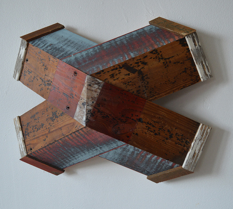 "Melinda Rosenberg ""X's"" aniline dyes and paint on curly maple and  found wood"