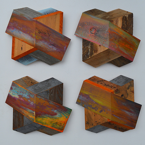 Melinda Rosenberg Board Series aniline dyes and paint on maple and pine with found wood