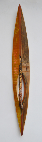 Melinda Rosenberg Boats paint on pine, cedar and cholla hull