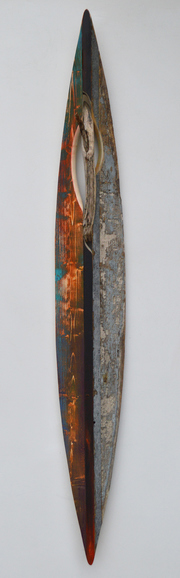Melinda Rosenberg Boats driftwood, paint on pine and found wood