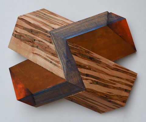 "Melinda Rosenberg ""X's"" aniline dyes and paint on shelving, pine and ambrosia maple"