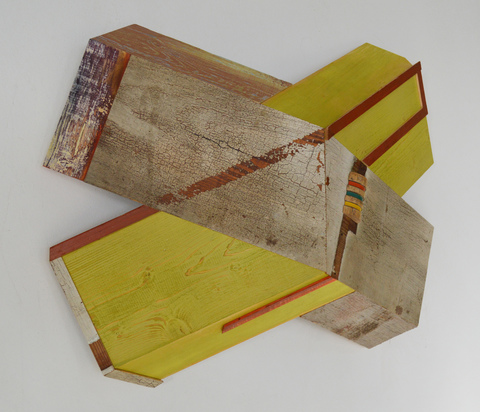"Melinda Rosenberg ""X's""  aniline dyes an paint on pine, old shelves and croquet mallet"
