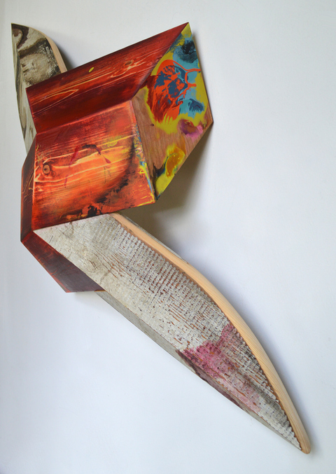 Melinda Rosenberg Unfolding paint on pine and old shelving