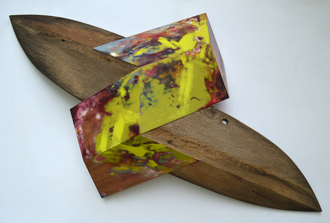 Melinda Rosenberg Unfolding aniline dyes and paint on birch plywood, maple and barn siding