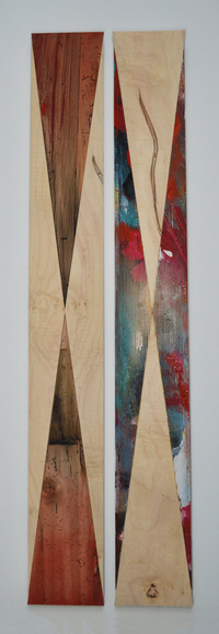 Melinda Rosenberg Inverse silver spray paint on painted ply, ribbed pine, and maple
