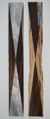 Melinda Rosenberg Inverse silver spray paint on painted ply and found wood
