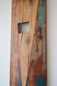Melinda Rosenberg Inverse paint on pine and barn wood