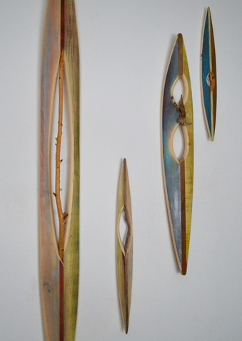 Melinda Rosenberg Boats found sticks, pine and paint