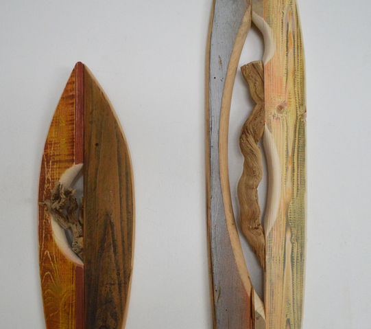 Melinda Rosenberg Boats found sticks, pine, ash and sliver spray paint, acrylic paint