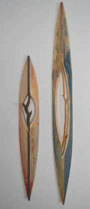 Melinda Rosenberg Boats found sticks, pine, ash and paint