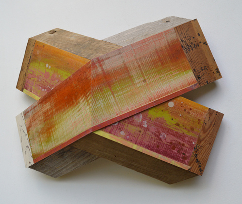 "Melinda Rosenberg ""X's"" aniline dyes and paint on maple, pine and cedar"
