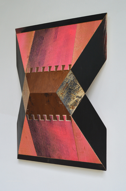 Melinda Rosenberg Pitch Series side view, maple, found wood, painted chip board, and ribbed pine