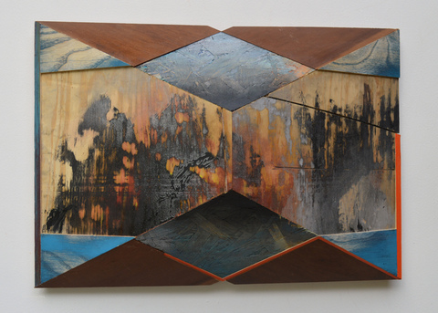 Melinda Rosenberg Pitch Series  painted plywood, chip board and found wood