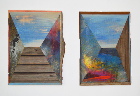 Melinda Rosenberg Pitch Series painted pine, chip board and barn  wood