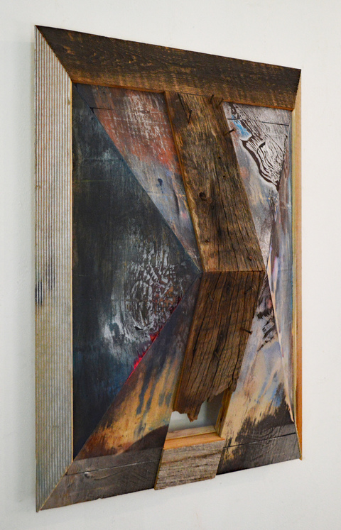 Melinda Rosenberg Pitch Series paint on barn wood, nails, plywood and ribbed pine