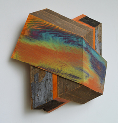 Melinda Rosenberg Board Series aniline dyes and paint on ash, cedar, maple and barn siding