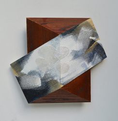 Melinda Rosenberg Board Series aniline dyes and paint on pressed pine and bed rail