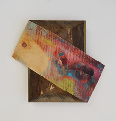 Melinda Rosenberg Board Series  aniline dyes and paint on pressed pine and barn siding
