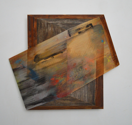 Melinda Rosenberg Board Series paint on pine, toothpicks and found wood