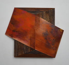 Melinda Rosenberg Board Series paint and glitter on ribbed pine and found wood