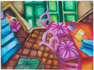 MELISSA ODEN  DRAWINGS Oil pastel on paper