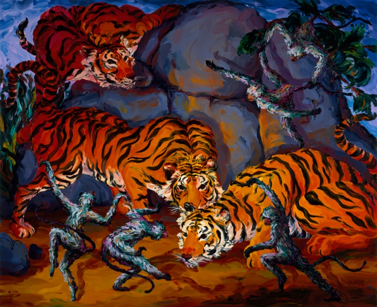 Oils Untitled (Tigers and Monkeys)