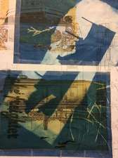 Margaret L. Holmes Lake Superior Watershed Basin Cyanotype, digital photo, scotch tape