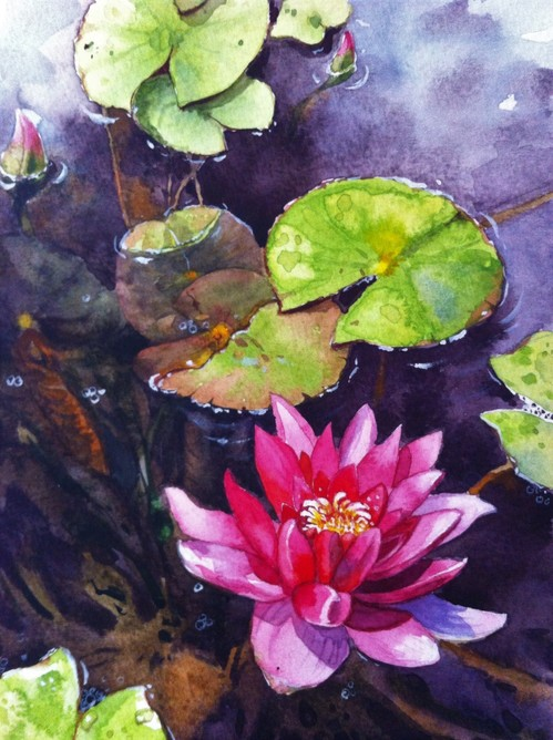 Miae Cho 'Flowers'  water color