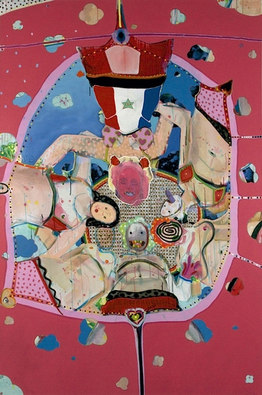 MICHAEL SHULTIS Cheer Up  (2011) Acrylic, Oil, Glitter, Silicone and Skittles on Canvas