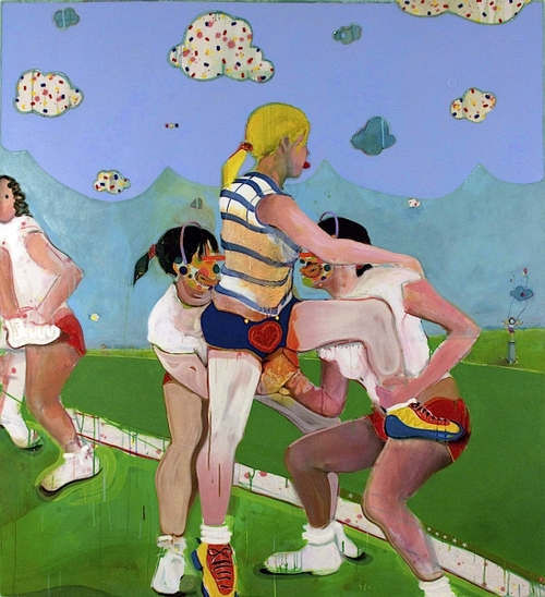 MICHAEL SHULTIS Cheer Up  (2011) Acrylic, Oil, Glitter and Silicone on Canvas