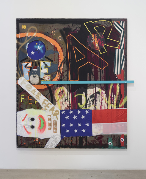 MIKE SHULTIS All American (2015-16) Oil, acrylic, latex, staples, fabric, polyester beard,  AirDancer, wood and spray paint on disposed  Francis Bacon crate