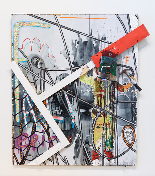MIKE SHULTIS All American (2015-16) Oil, acrylic, hammer, wood, Astroturf, plexiglass,  foam, staples, paper, ink, black and white inkjet  print, color inkjet print and vinyl on  disposed Jeff Wall crate