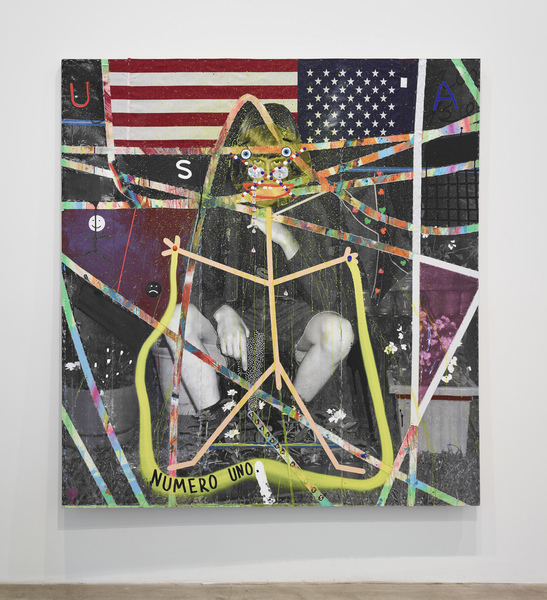 MICHAEL SHULTIS All American (2015-16) Oil, acrylic, vinyl, black and white inkjet print, staples, and American flag on panel