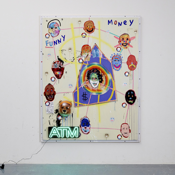 MIKE SHULTIS Funny Money (2016-17) Mixed Media and ATM sign on Panel