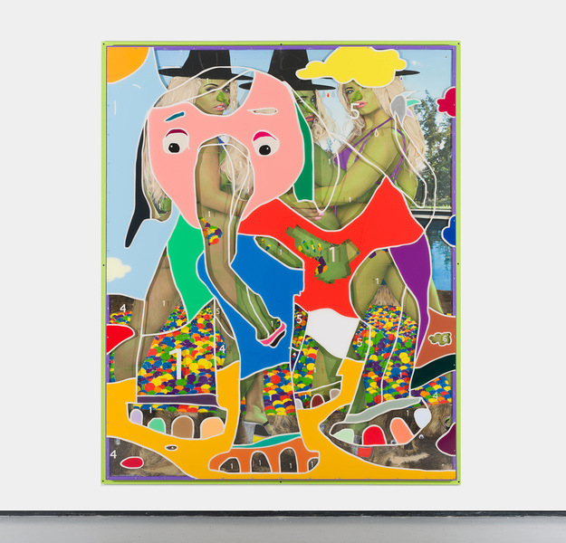 MIKE SHULTIS Elephants (2019) Oil, Acrylic, Boar Hide, Staples, Screws, Used Bra's, Blonde Wigs, Archival Inkjet Print, Googley Eyes and Plexiglass on Panel with Artists Frame