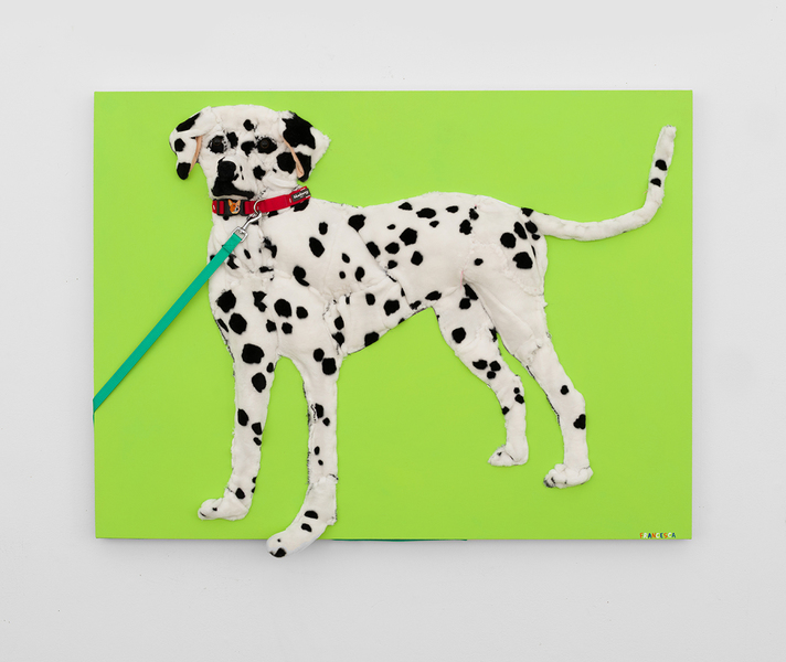 MIKE SHULTIS Dogs (2018-19) Oil, Acrylic, Kids Dalmatian Stuffed Animal, Dog Leash, Dog Collar, Staples, and Shultis XL Brand Patch on Canvas Stretched Over Panel