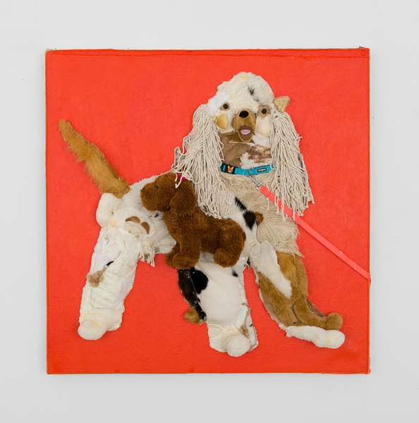 MICHAEL SHULTIS Dogs (2018-19)  Oil, Acrylic, Dog Leash, Dog Collar, Stuffed Animals, Boar Hide, Cow Hide, Mops, Staples, Rope,  Fabric, ShultisXL Brand Patch and Thread on Upholstery Over Pane