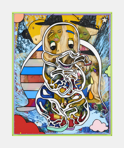 MIKE SHULTIS Elephants (2019) Oil, Acrylic, Superman Costume, Fake Plants, Dried Flowers, Fake Bees, Toy Stuffed Dog, String, Blonde Wigs, Clothing, Fabrics, Glitter, Staples, Archival Inkjet Print and Plexiglass on Panel with Artists Frame