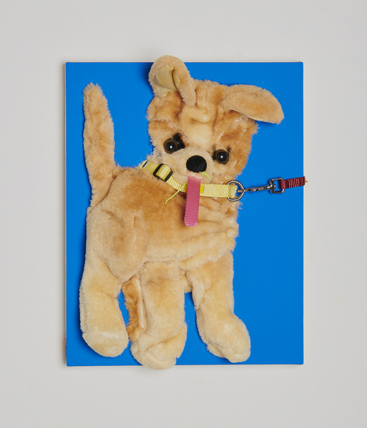 MIKE SHULTIS Dogs (2018-19) Acrylic, Flasche, Chihuahua Stuffed Animal, Dog Collar, Dog Leash, Shultis XL Patch, String, Staples on Canvas over Panel