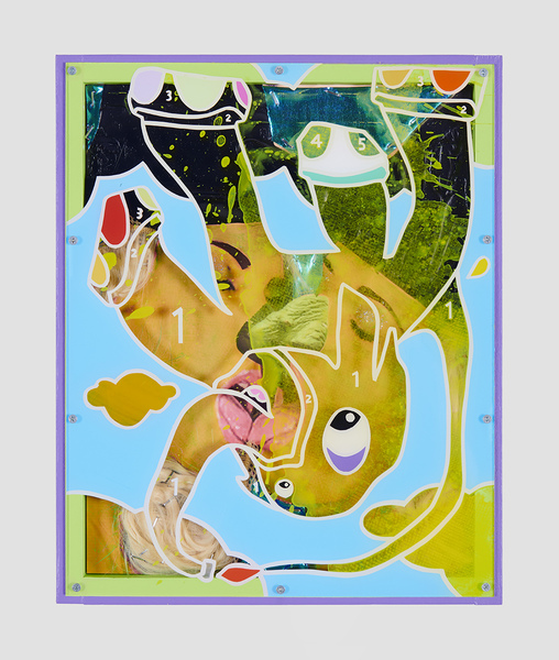 MIKE SHULTIS Elephants (2019) Oil, Acrylic, Staples, Glitter, Blonde Wigs, Fabric, Archival Inkjet Print and Plexiglass with Artists Frame on Panel