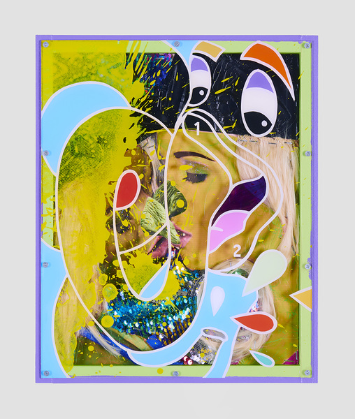 MIKE SHULTIS Elephants (2019) Oil, Acrylic, Glitter, Fabric, Blonde Wigs, Archival Inkjet Print and Plexiglass with Artists Frame on Panel