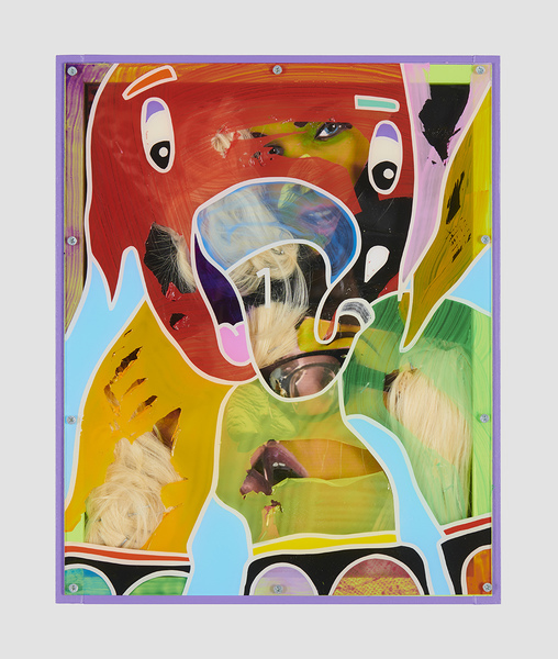 MIKE SHULTIS Elephants (2019) Oil, Acrylic, Fabric, Toy Glasses, Glitter, Blonde Wigs, Archival Inkjet Print and Plexiglass with Artists Frame on Panel
