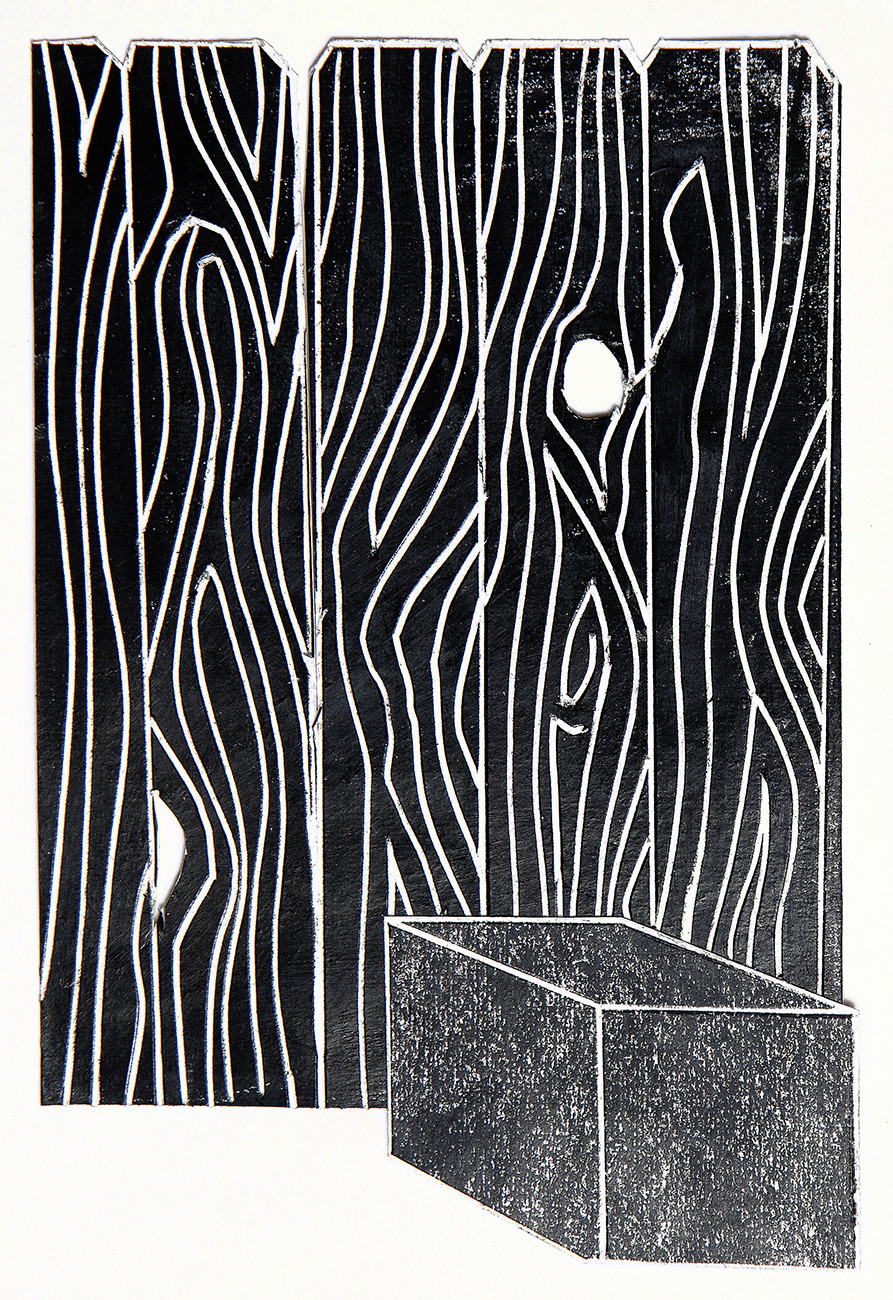 The Black Drawings China marker on cut and incised paper collage