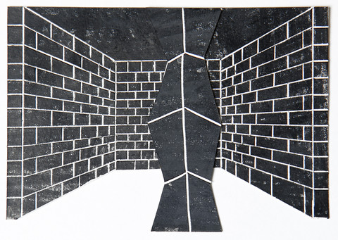 black drawings 2014-2015 China marker on cut and incised paper collage