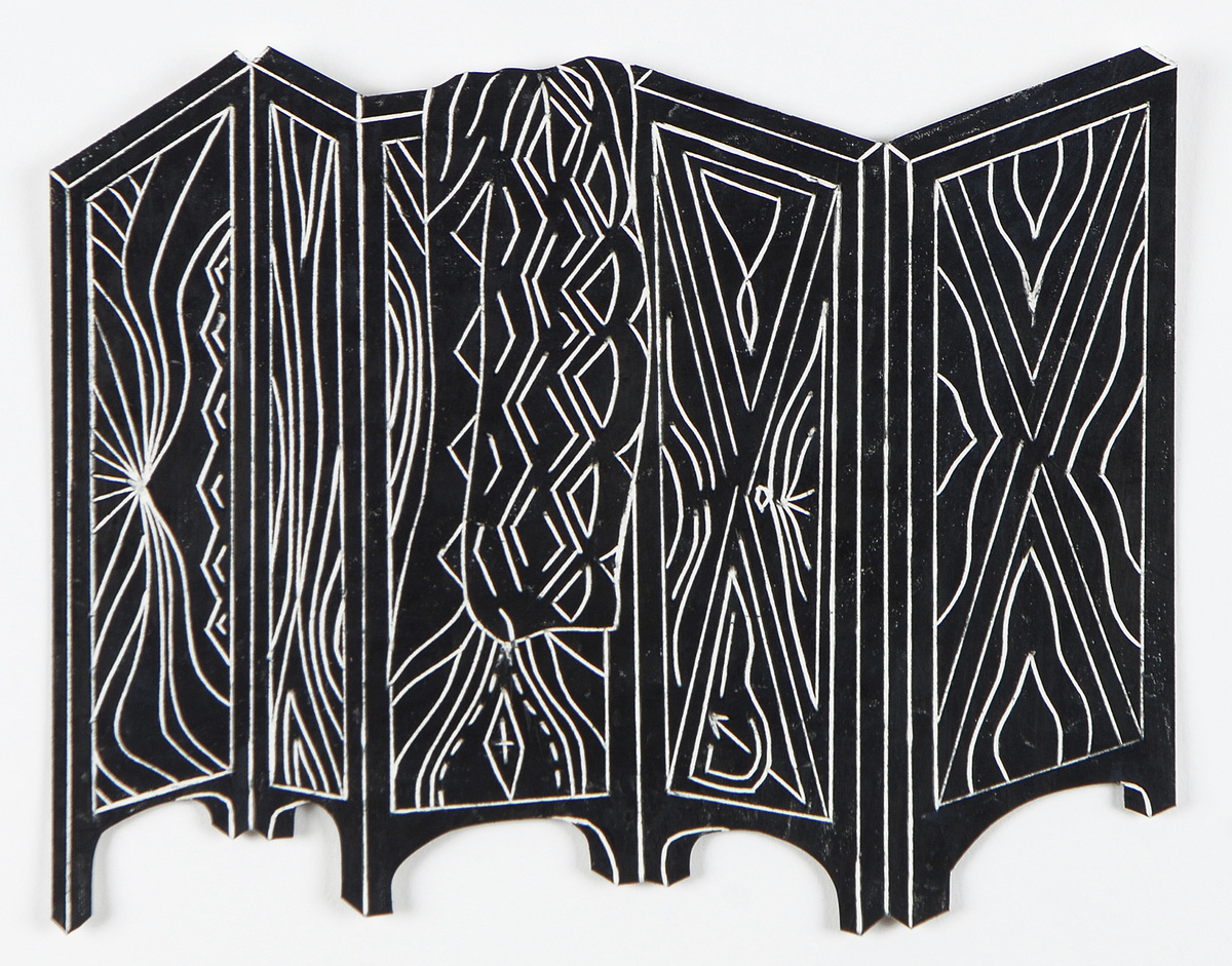 The Black Drawings China marker on cut and incised paper