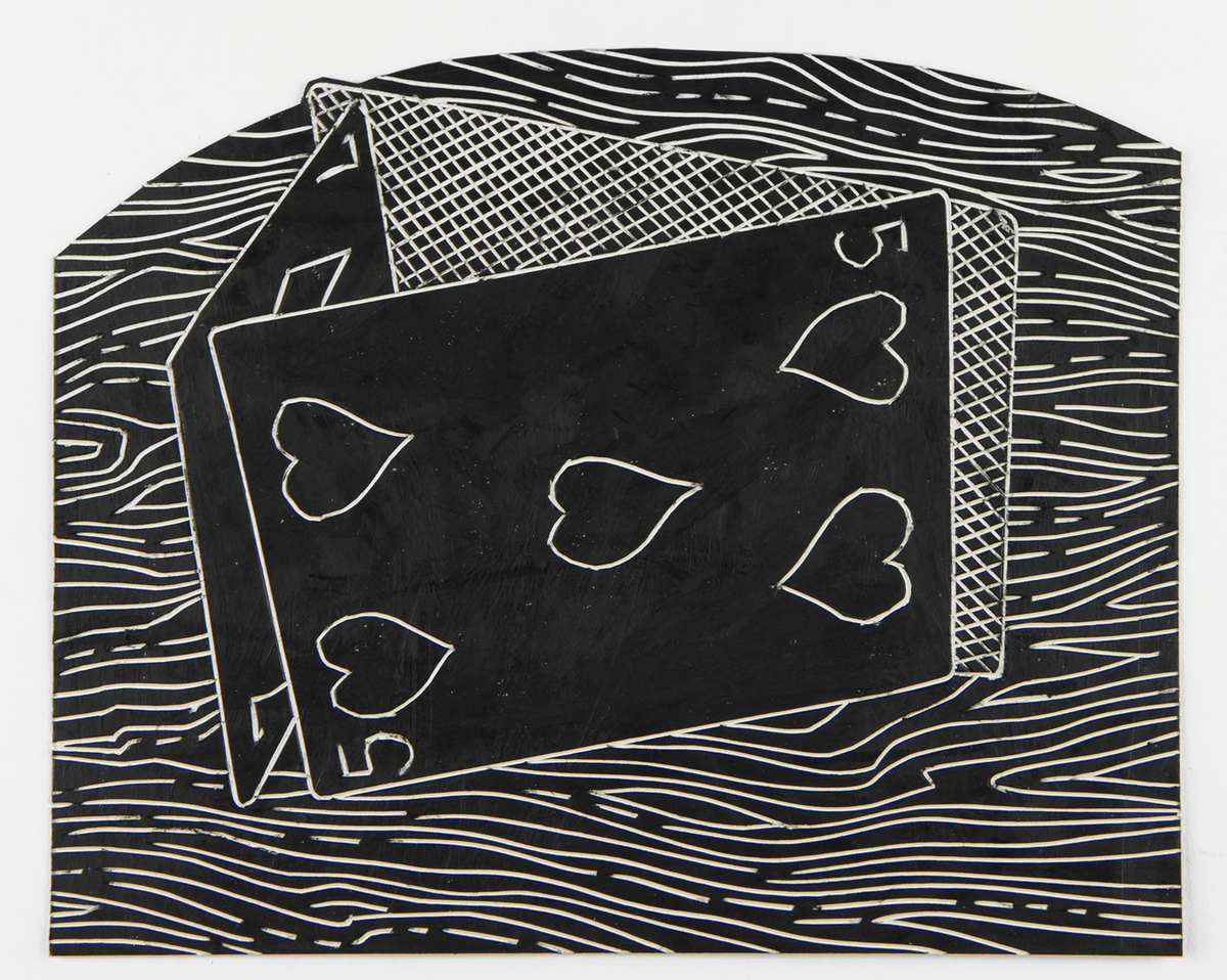 The Black Drawings oil pastel on cut and incised paper