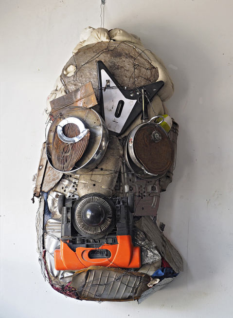 SCULPTURE/ ASSEMBLAGE  MASK_ HEADS OF STATE SPACE DOG